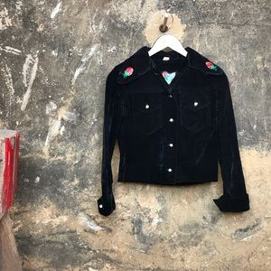 Vintage black velvet rockabilly velvet jacket